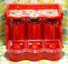レトロプラスチック 花柄 3連調味料ラック+3連ケース キッチンフラワーDX レッド