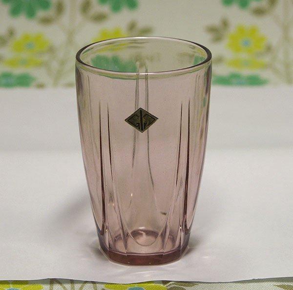 昭和レトロ ピンク プレスガラス グラス