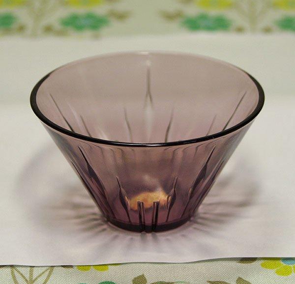 昭和レトロ 紫 プレスガラス 氷コップ
