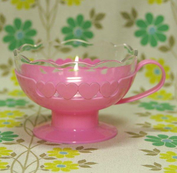レトロポップ プラッシー ハート柄 デザートカップ ピンク