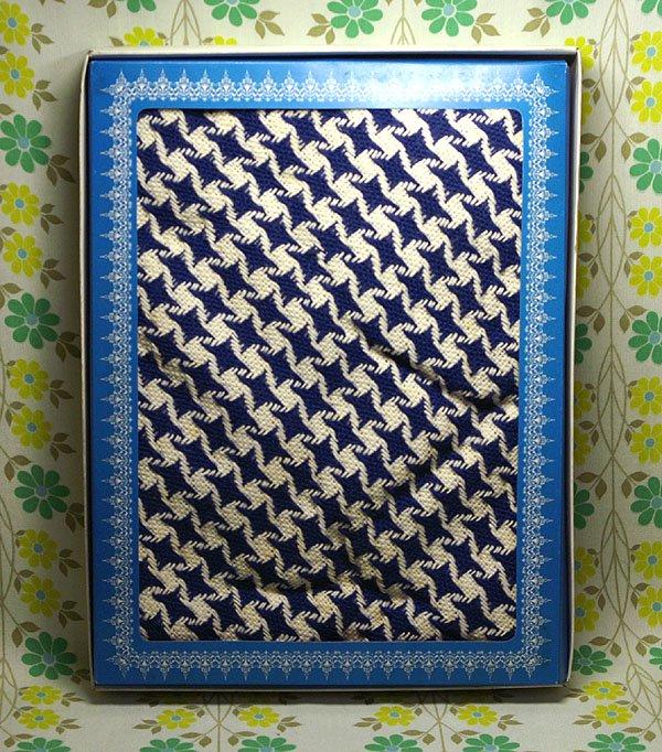 レトロポップ こたつ布団カバー ブルー×ホワイト 千鳥格子柄