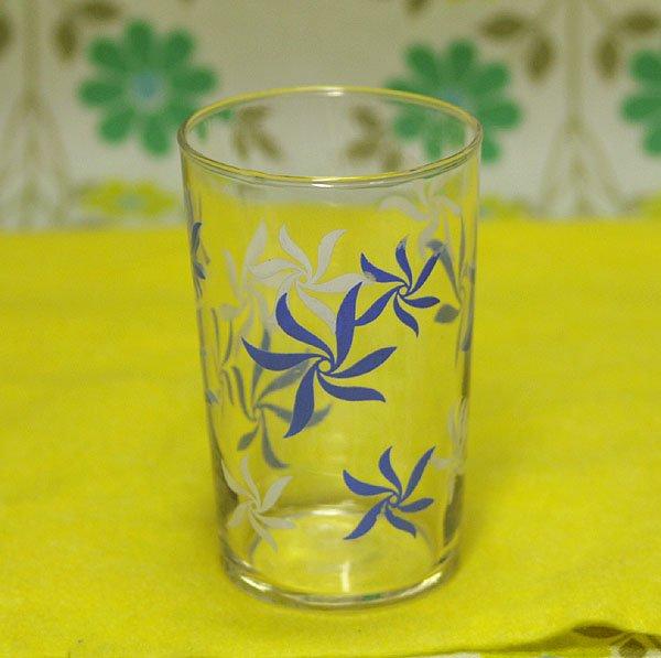 レトロポップ ブルー×ホワイト花柄 グラス