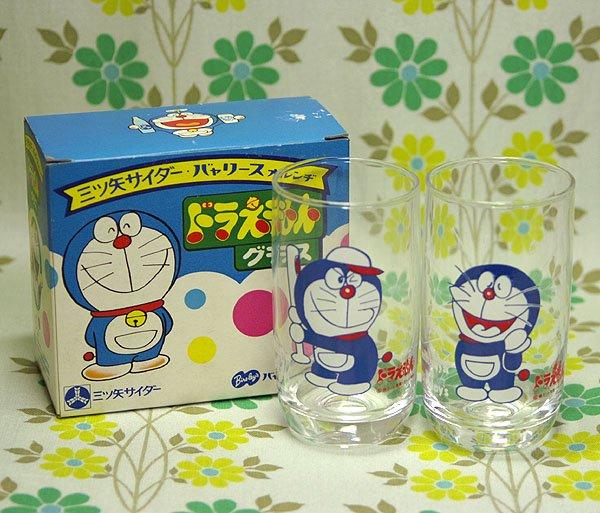 昭和レトロ 三ツ矢サイダー・バヤリース ドラえもんグラス 2個セット