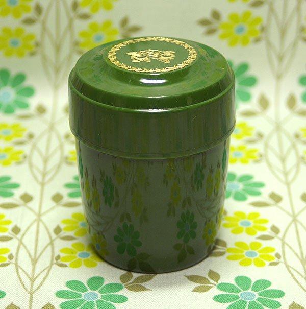レトロプラスチック バラ花柄 中フタ付き保存容器 グリーン