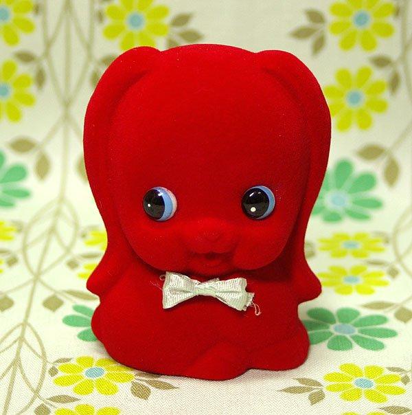 昭和レトロ フロッキー人形 貯金箱 赤い犬