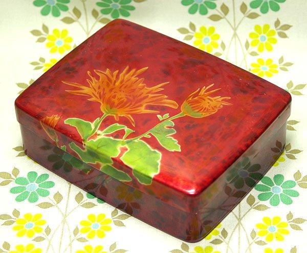 昭和レトロ 菊花柄 古いアルミの箱