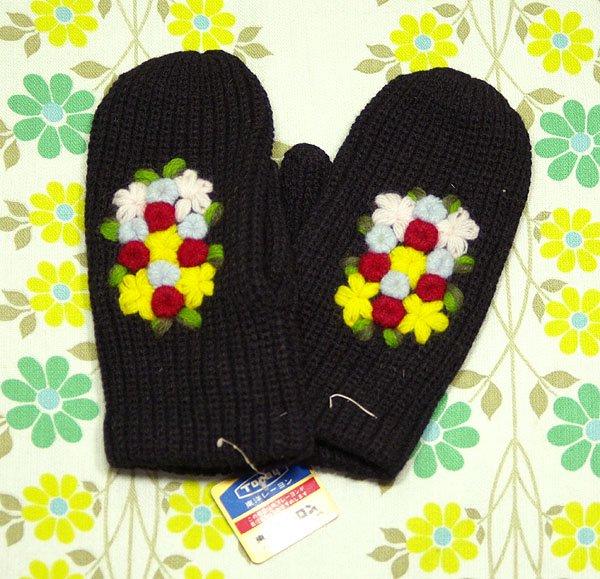 昭和レトロ 女性用 ミトン手袋 花柄