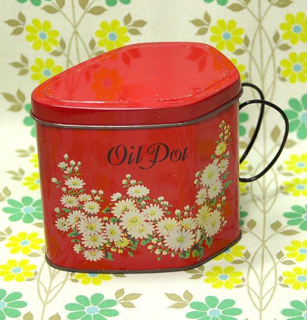 レトロポップ ブリキ製 デイジー花柄 オイルポット