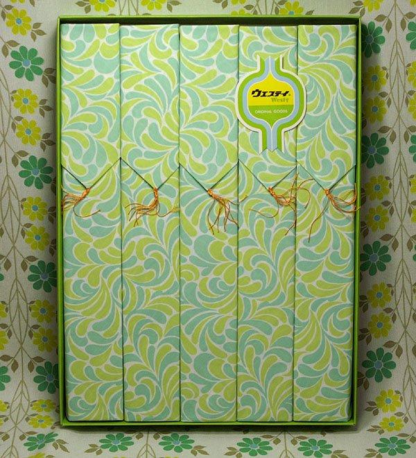 レトロポップ 座布団カバー 5枚セット グリーンサイケ柄
