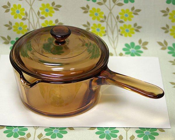フランス製CORNING アンバーガラス 口付き片手鍋