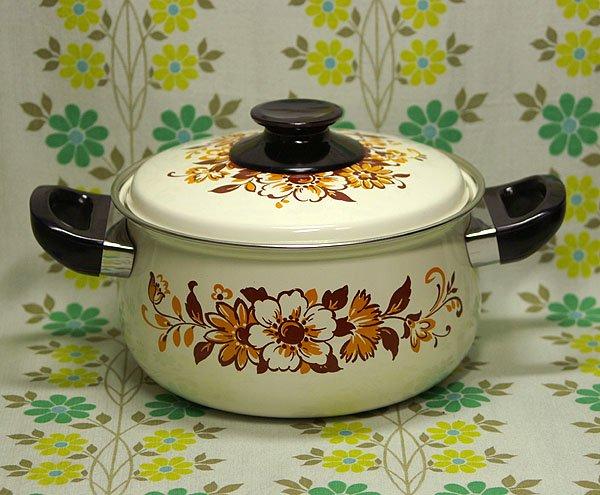 レトロポップ ブラウン花柄 ホーロー両手鍋