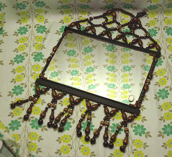 昭和レトロ 木製珠細工 壁掛けミラー