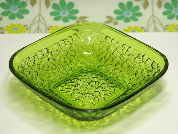 レトロポップ 小花柄 プレスガラス スクエアボウル グリーン