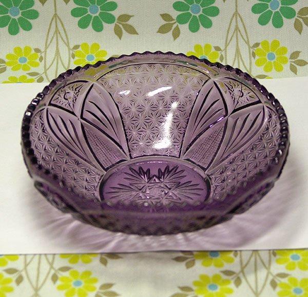 昭和レトロ 紫 プレスガラス 大鉢