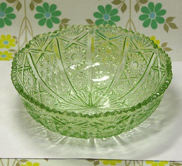 昭和レトロ 緑 プレスガラス 大鉢 A