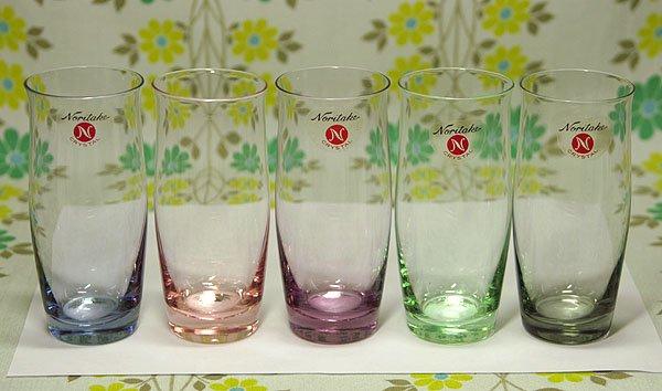 レトロ ノリタケクリスタル 5色カラー グラスセット 小