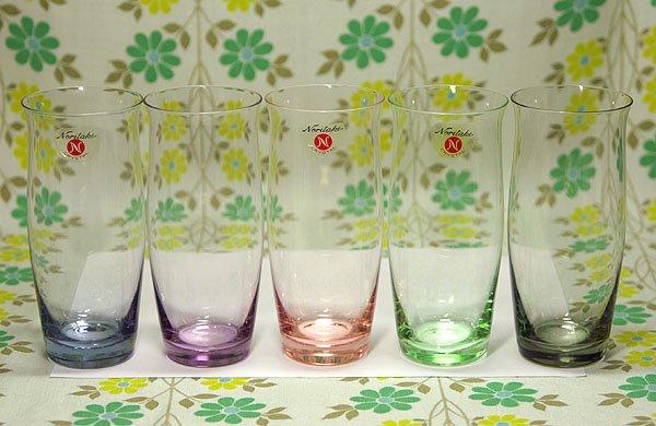 レトロ ノリタケクリスタル 5色カラー グラスセット 大