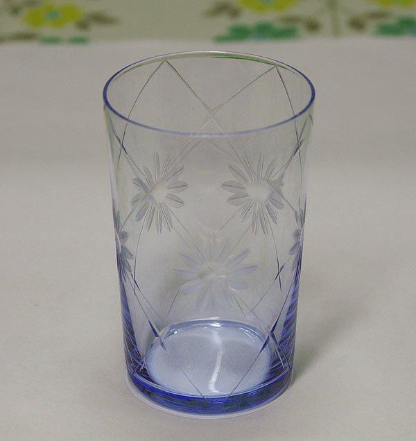 レトロ 青ガラス 花切子 花柄×斜め格子 グラス