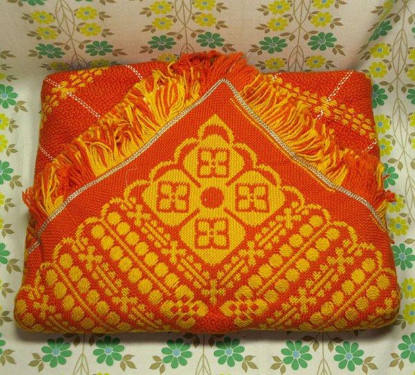 レトロポップ こたつ布団カバー オレンジ花柄