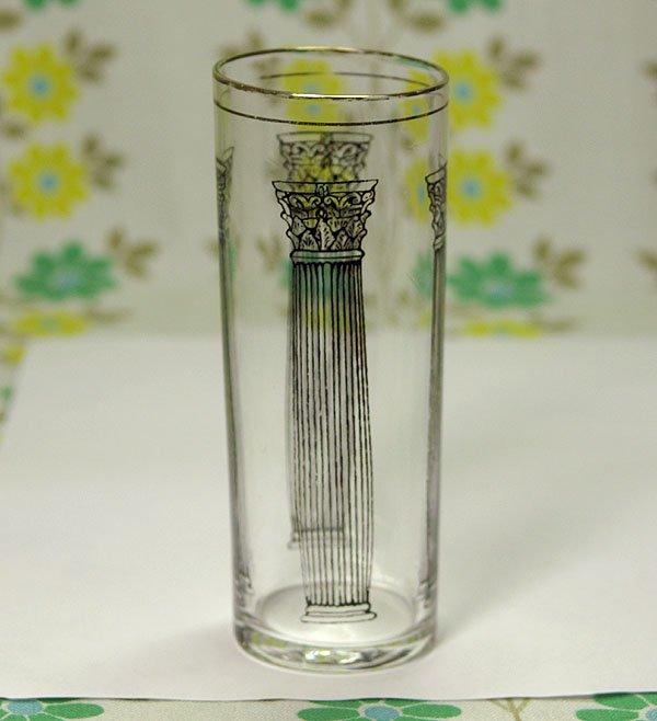 レトロ 宮殿柱柄 金縁 コリンズグラス