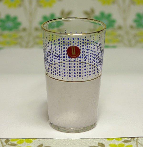 レトロポップ ドット柄×擦りガラス 金縁 グラス