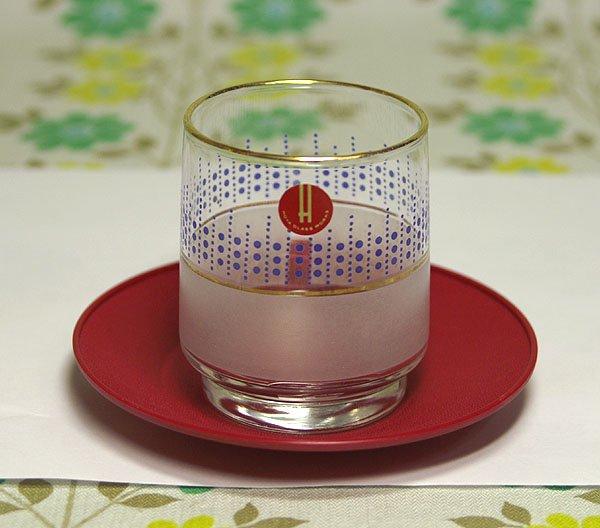 レトロポップ ドット柄×擦りガラス 金縁 冷茶グラス