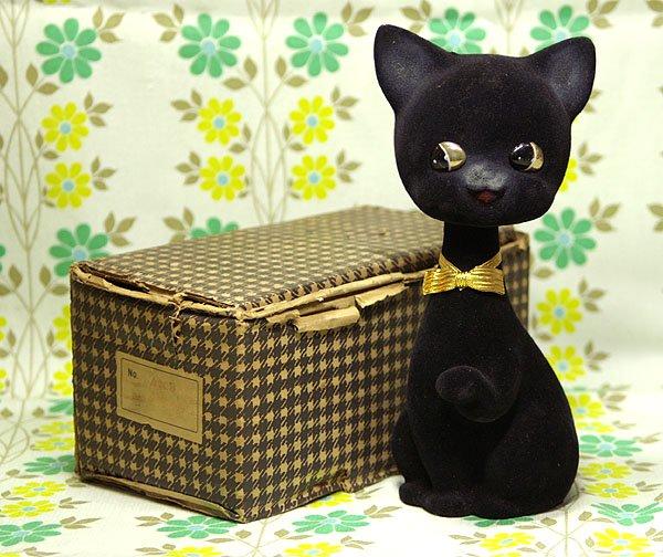 昭和レトロ フロッキー 首振り人形 黒い猫