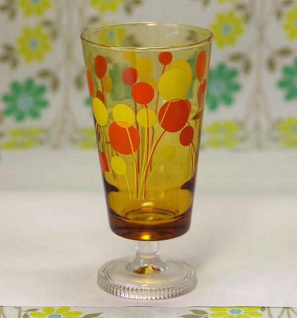 レトロポップ アンバーガラス オレンジ×イエロー風船柄 足付きグラス