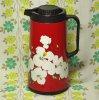 レトロポップ ホワイト花柄 魔法瓶ポット レッド 1.0L