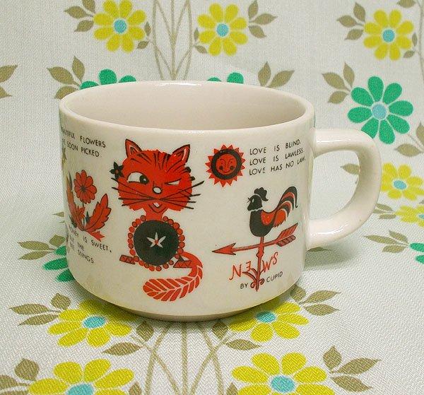 レトロポップ 陶器製 マグカップ ポエム柄