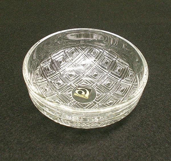 レトロ プレスガラス 豆鉢皿 タイル柄