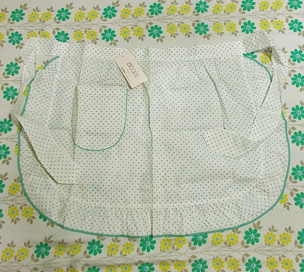 レトロポップ 水玉柄 サロンエプロン ホワイト×グリーン