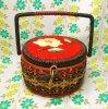 昭和レトロ テープ刺繍 丸型 バスケット裁縫箱