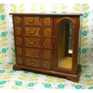 昭和レトロ オルゴール付き 木製 ジュエリーケース