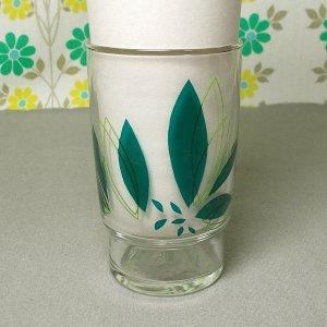 レトロポップ 葉っぱ柄 グラス