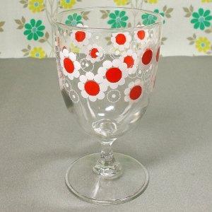 レトロポップ ホワイト×レッド花柄 ゴブレットグラス