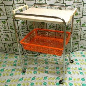 レトロポップ ストライプ柄 キッチンワゴン オレンジ