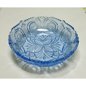 レトロ プレスガラス 青ガラス 小皿