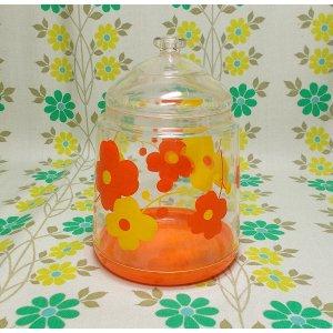 レトロプラスチック デイジー花柄 フタ付き容器 ポット