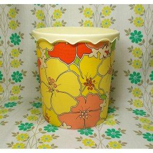 レトロプラスチック 花柄 ゴミ箱