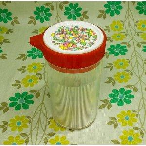 レトロプラスチック アート醤油差し 花柄