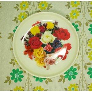 レトロプラスチック スナック皿 花柄