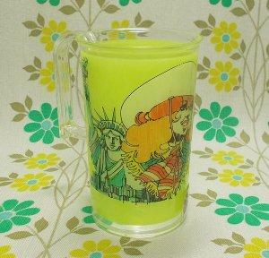 レトロプラスチック USAイラスト 手付きコップ グリーン