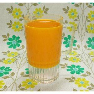 レトロプラスチック カラー 手付きコップ オレンジ