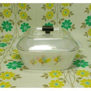 レトロプラスチック 花柄 フード付ボウル 小