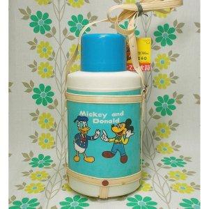 レトロプラスチック 象印 ディズニー水筒 小判型 ミッキー&ドナルドダック
