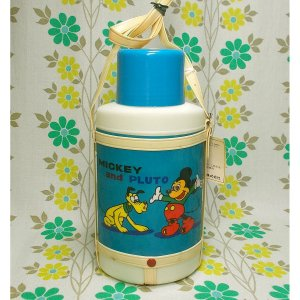 レトロプラスチック 象印 ディズニー水筒 小判型 ミッキー&プルート