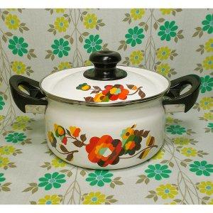 レトロポップ 花柄 ホーロー製 両手鍋 20cm フローラ