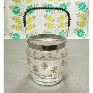 レトロ ガラス製 アイスペール 金彩 百合の紋章