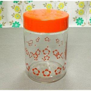 レトロポップ 花柄 ガラス製 保存瓶 3号